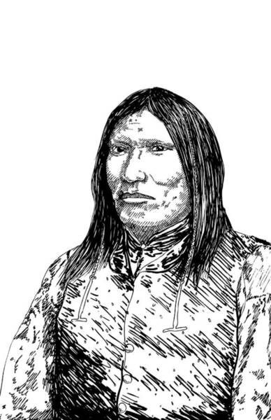 Wall Art - Drawing - Comanche Man by Karl Addison