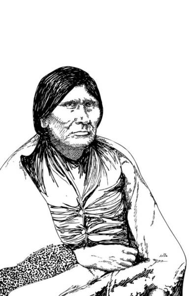 Wall Art - Drawing - Comanche Woman by Karl Addison