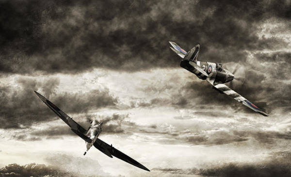 Royal Air Force Digital Art - Combat Spitfires by Peter Chilelli