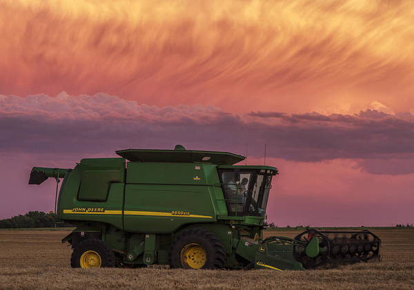 Combine At Sunset Art Print