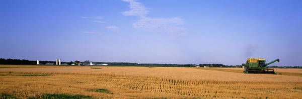 Wall Art - Photograph - Combine In A Field, Marion County by Panoramic Images