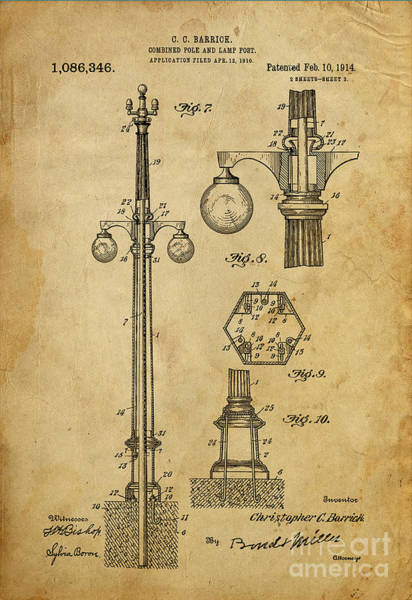 Vintage Patent Drawing - Combined Pole And Lamp Post - 1914 by Drawspots Illustrations