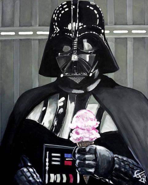 Vader Wall Art - Painting - Come To The Dark Side... We Have Ice Cream. by Tom Carlton