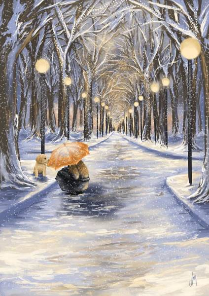Winter Walk Painting - Come With Me by Veronica Minozzi