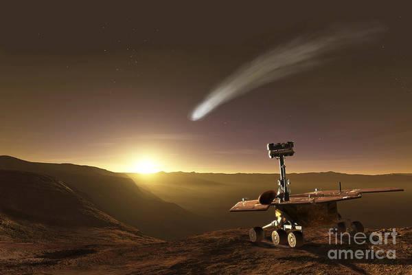 Red Planet Digital Art - Comet Over Endeavour Crater by Steven Hobbs