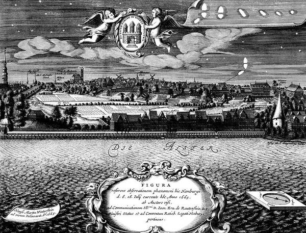1665 Wall Art - Photograph - Comet Over Hamburg by Royal Astronomical Society/science Photo Library
