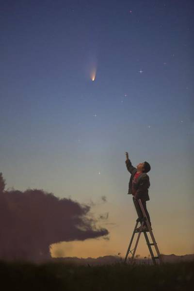 Reach For The Sky Wall Art - Photograph - Comet Panstarrs And Child by Juan Carlos Casado (starryearth.com)