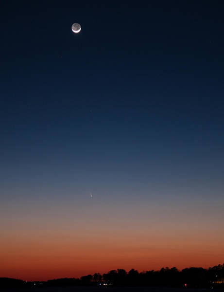 Photograph - Comet Panstarrs And Crescent Moon - 2 by Charles Hite