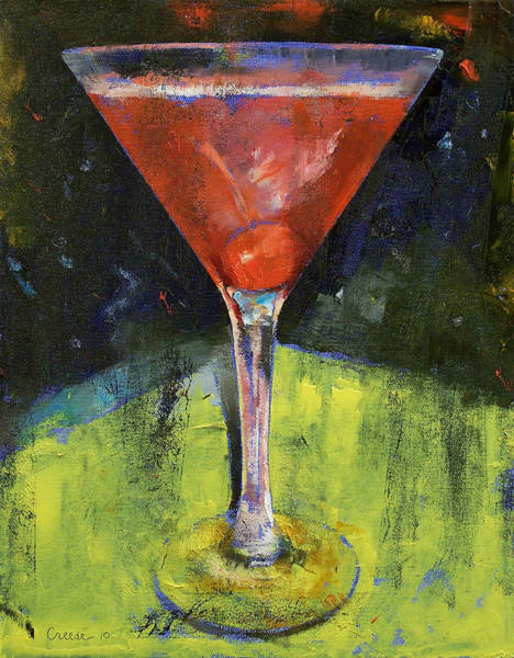 Martini Glasses Painting - Comfortable Cherry Martini by Michael Creese