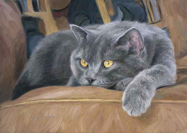 Domestic Cat Wall Art - Painting - Comfortable by Lucie Bilodeau