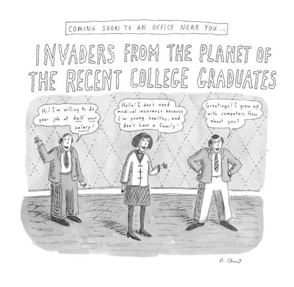 Hiring Drawing - Coming Soon To An Office Near You: Invaders by Roz Chast