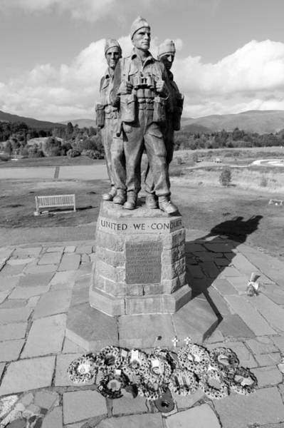 Photograph - Commando Memorial Spean Bridge Black And White by Gary Eason