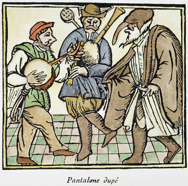 Bagpipe Wall Art - Painting - Commedia Del' Arte, 17th C by Granger