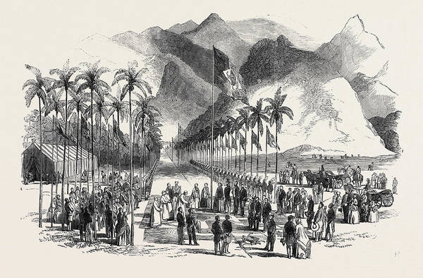 Wall Art - Drawing - Commencement Of The Works Of The Petropolis Railway by Brazilian School