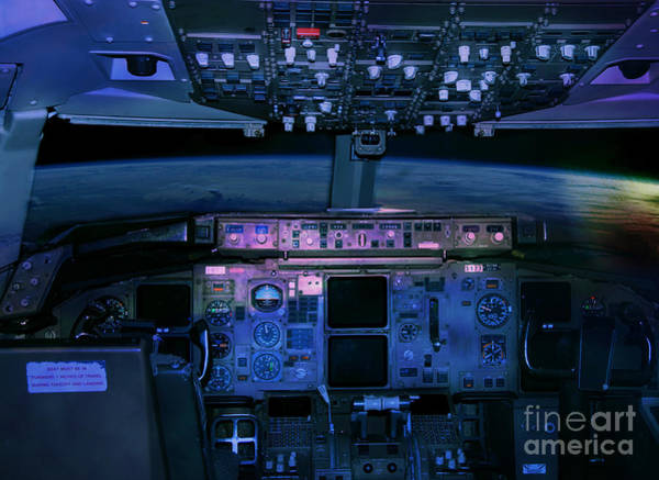 Commercial Airplane Cockpit By Night Art Print