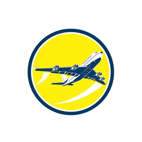 Wall Art - Digital Art - Commercial Jet Plane Airline Circle Retro by Aloysius Patrimonio