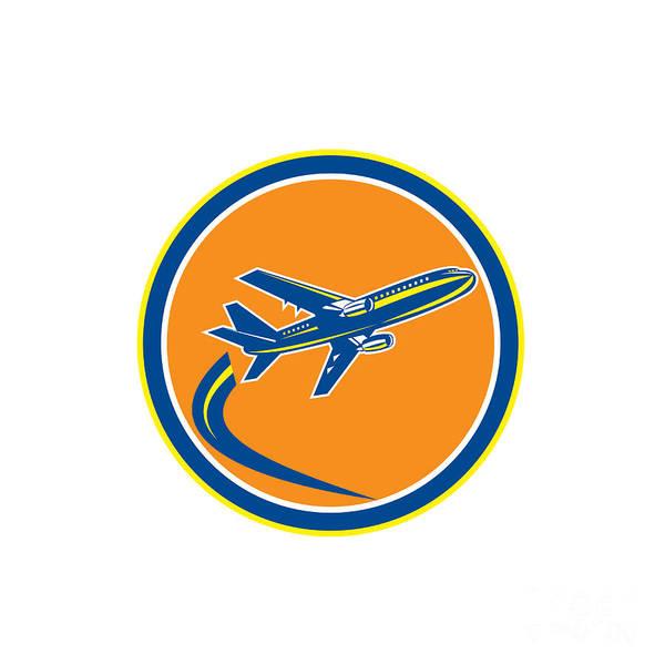 Wall Art - Digital Art - Commercial Jet Plane Airline Flying Retro by Aloysius Patrimonio