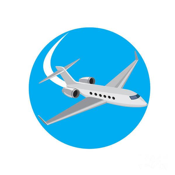 Wall Art - Digital Art - Commercial Light Passenger Airplane Circle Retro by Aloysius Patrimonio