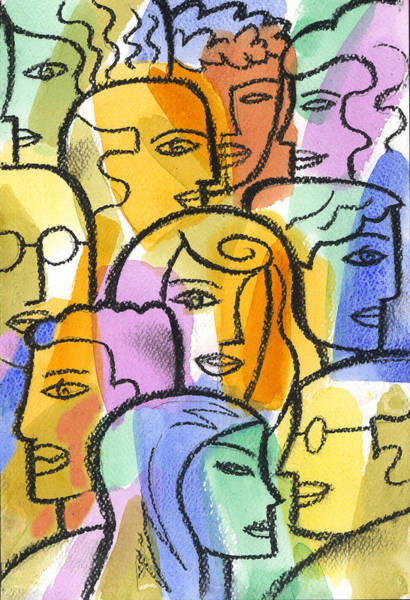 Distinctive Wall Art - Painting - Community by Leon Zernitsky
