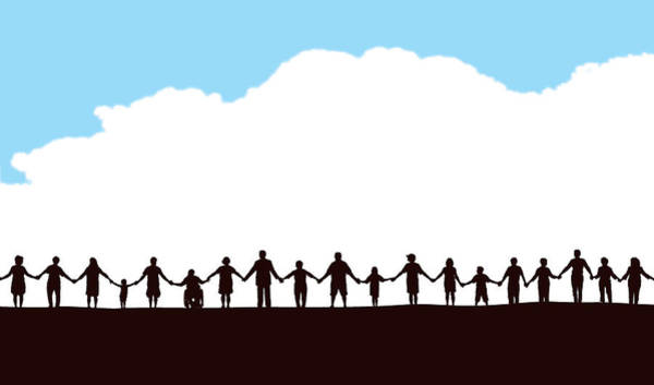 Community, People In A Row Holding Hands Art Print by KeithBishop