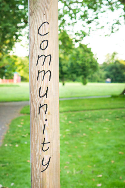 Etched Photograph - Community Sign by Tom Gowanlock