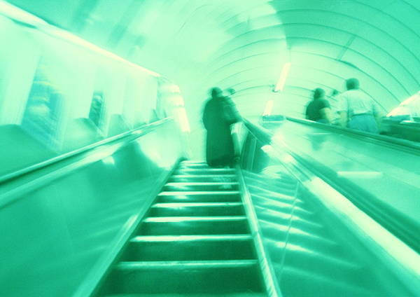 Commute Photograph - Commuters On An Escalator by Bettina Salomon/science Photo Library