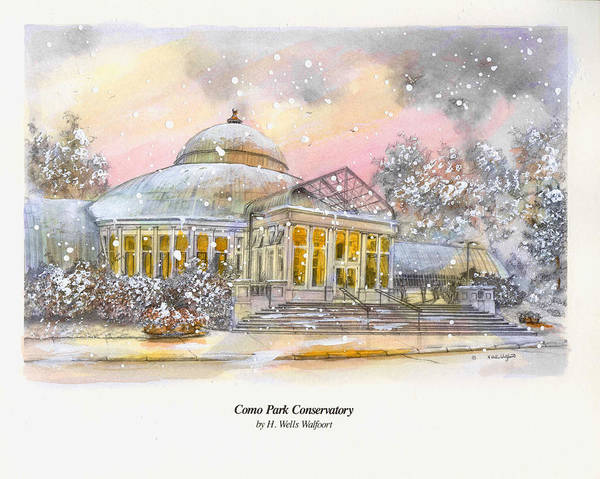 Guache Painting - Como Park Conservatory by Herb Walfoort