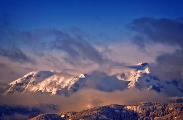 Photograph - Comox Glacier And Morning Mist by Richard Farrington