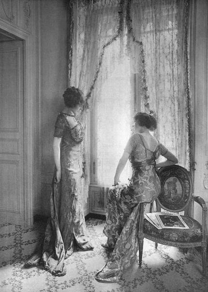 Wall Art - Photograph - Comparing Dresses In The  Salon by Mary Evans Picture Library