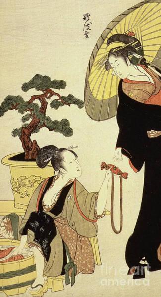 Woodblock Painting - Comparison Of Celebrated Beauties And The Loyal League by Kitagawa Utamaro