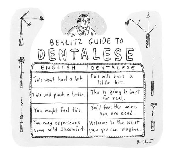 English Drawing - Comparison Of What Dentist Says And The Reality by Roz Chast
