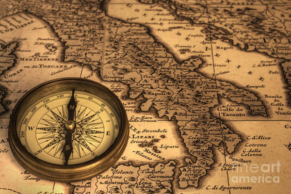 Direction Photograph - Compass And Ancient Map Of Italy by Colin and Linda McKie