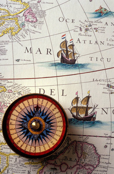 Wall Art - Photograph - Compass And Old Map With Ships by Garry Gay