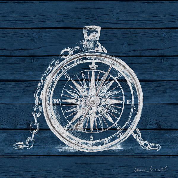 Wall Art - Digital Art - Compass On Blue Wood by Lanie Loreth
