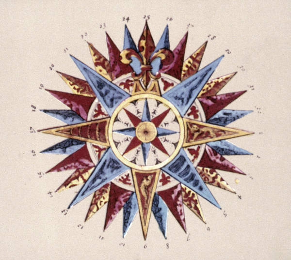 Wall Art - Painting - Compass Rose, C1645 by Granger