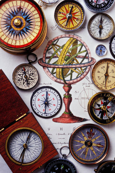 Wall Art - Photograph - Compasses And Globe Illustration by Garry Gay