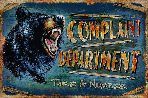 Growling Wall Art - Painting - Complaint Department by JQ Licensing