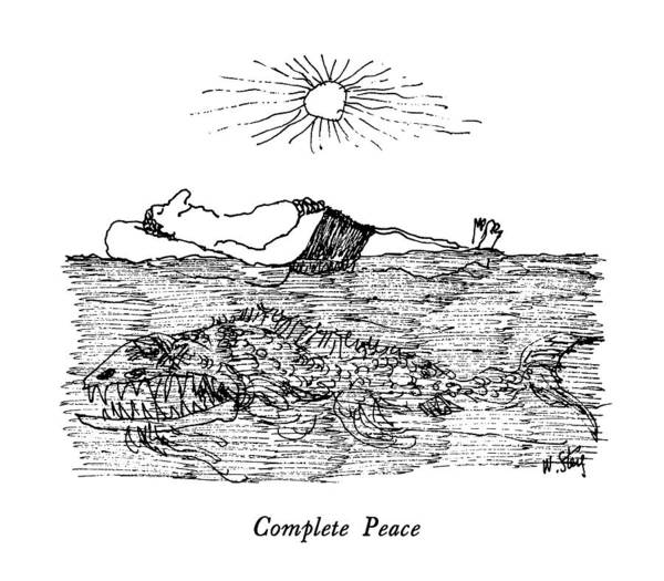 Fish Drawing - Complete Peace by William Steig