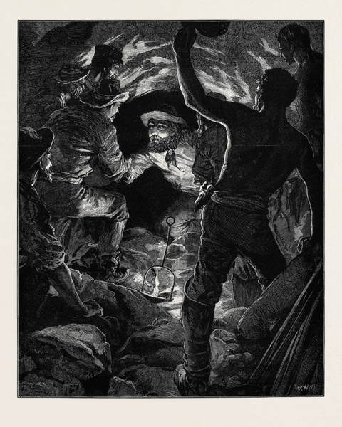 Feb Wall Art - Drawing - Completion Of The St. Gothard Tunnel Meeting Of Workmen by English School