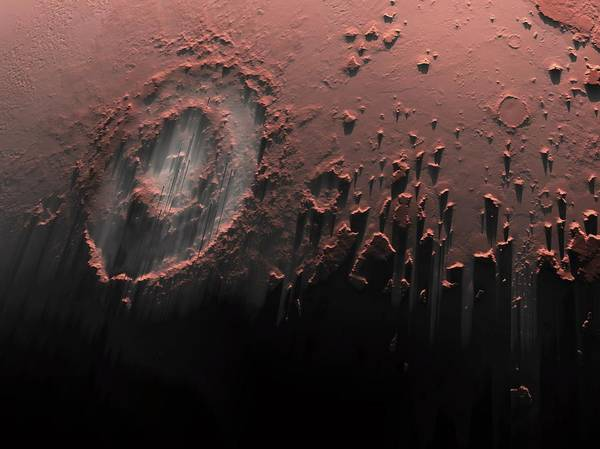 Multi-dimensional Wall Art - Photograph - Complex Crater On Mars by Detlev Van Ravenswaay