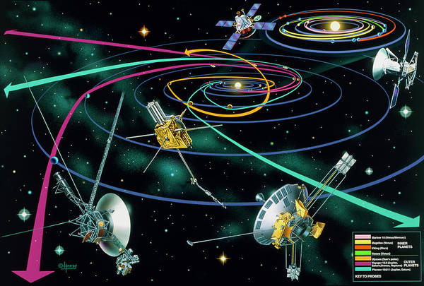 Wall Art - Photograph - Composite Artwork Of The Routes Of Spacecraft by David A. Hardy/science Photo Library