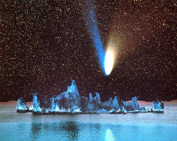 Wall Art - Photograph - Composite Image Of Comet Hale-bopp Over Mono Lake by Tony & Daphne Hallas/science Photo Library