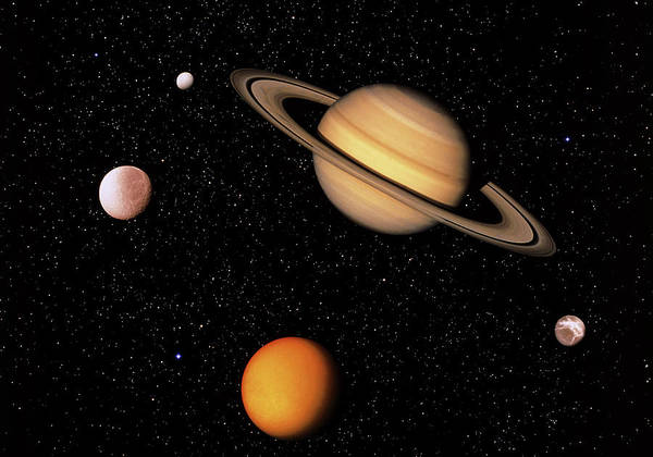 Voyager Photograph - Composite Image Of Saturn And Four Of Its Moons by Science Photo Library