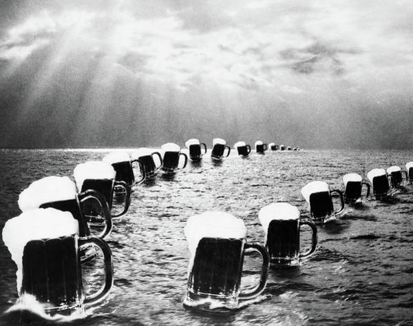 Foaming Wall Art - Painting - Composite Photograph Mugs Of Beer by Vintage Images
