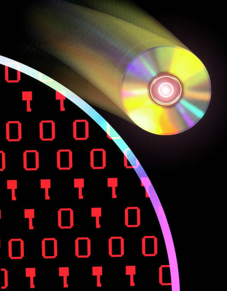 Roms Photograph - Computer Art Of Compact Disks And Binary Digits by Mehau Kulyk/science Photo Library