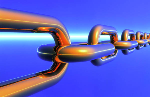 Chain Link Photograph - Computer Artwork Of A Chain by Alfred Pasieka/science Photo Library