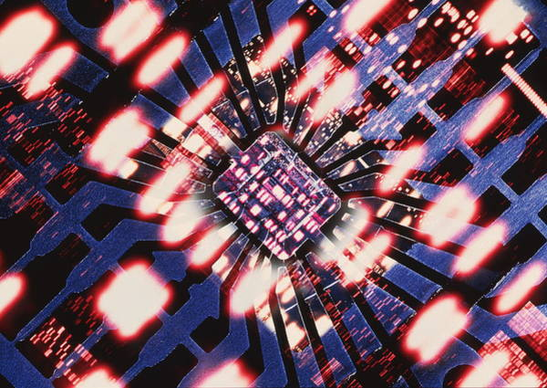 Autoradiogram Photograph - Computer Artwork Of A Chip And Dna Autoradiogram by Alfred Pasieka/science Photo Library