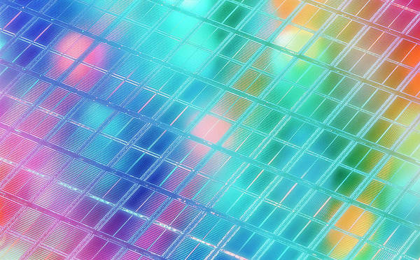Wall Art - Photograph - Computer Artwork Of A Semiconductor Wafer by Alfred Pasieka/science Photo Library