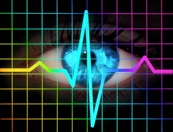 Wall Art - Photograph - Computer Artwork Of Heartbeat Ecg And Human Eye by Mehau Kulyk/science Photo Library