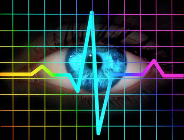 Wall Art - Photograph - Computer Artwork Of Heartbeat Ecg And Human Eye by Mehau Kulyk/science Photo Library